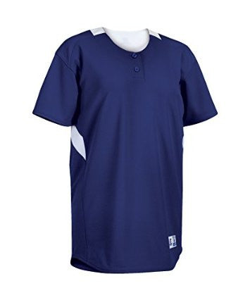 The Russell Athletic Women's Performance Two Button Placket Softball Jersey is perfect for practice or play keeping you dry and cool.