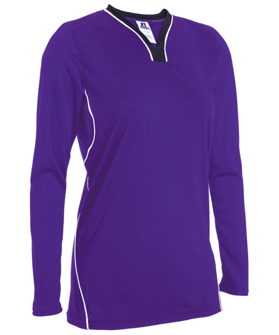 The Russell Athletic Women's Athletic Form Fit Long Sleeve Shirt features a tight fit construction with contrasting side piping.