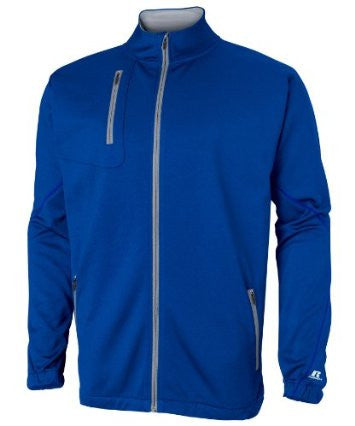 The Russell Athletic Men's Technical Performance Fleece Full Zip Cadet delivers Dri-Power benefits with the comfort of fleece helping to keep you dry and comfortable in cold conditions. This jacket has a full front center zipper, a zippered pocket on the right chest and front side pockets with zippers. The inner collar and back neck tape are contrasting to the jacket's body color. There is a silver reflective heat transfer on the sleeve ends.