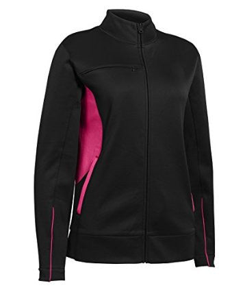 Russell Athletic Women's Tech Fleece Full Zip Jacket - Black/Watermelon Pink