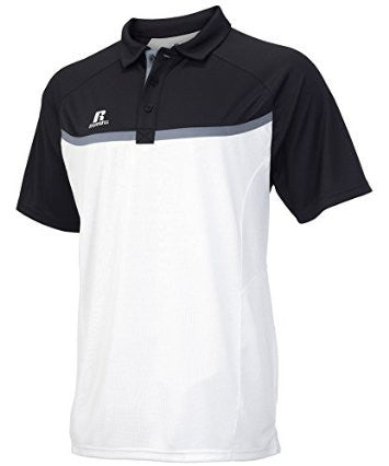 Russell Athletic Men's Colorblock Gameday Polo - White/Black/Steel