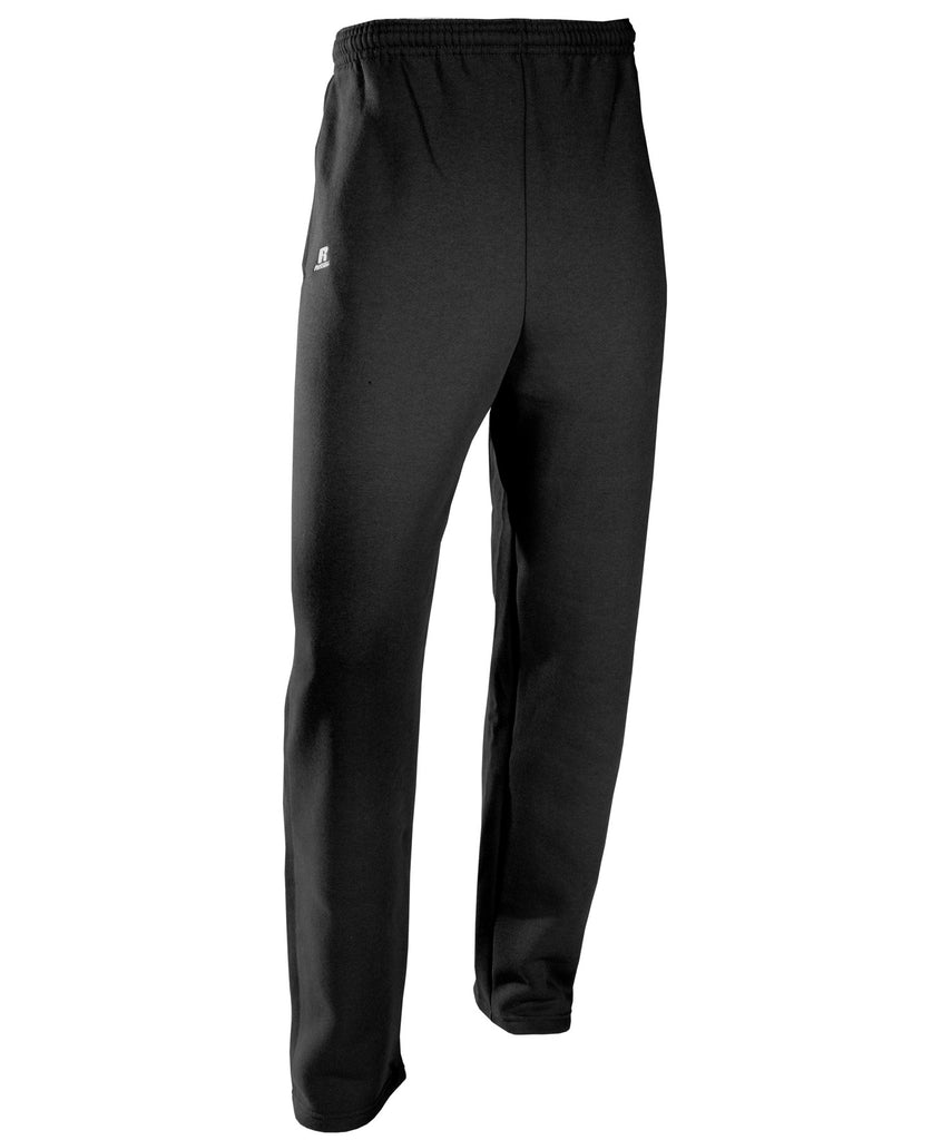 Russell Athletic Men's Dri-Power Open-Bottom Fleece Pocket Pants - Black
