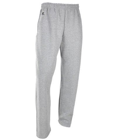 The Russell Athletic Men's Dri-Power Fleece Pocket Pants feature an open bottom design and are great for cold weather workouts or post-workout lounging.