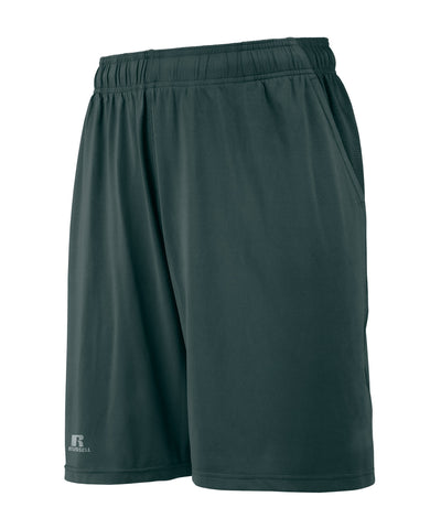 "The Russell Athletic Men's Pocketed Performance Shorts have a 9"" inseam and a drawcord waistband. These shorts feature angled side front pockets and a back pocket with zipper closure to keep your necessities in place while you work out or run errands around town. Available in sizes S-3XL."