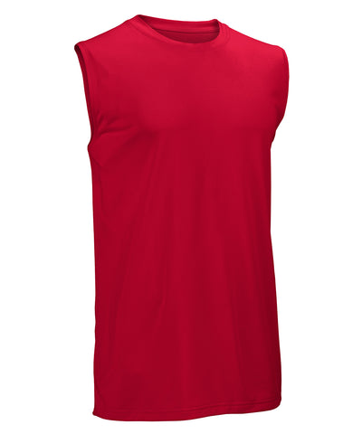 The Russell Athletic Men's Core Performance Sleeveless Tee features an innovative fabric with an updated fit and moisture management at an exceptional value. This sleeveless tee has set-in sleeves with a self-material collar and contrasting back neck tape that brings style to this performance tee.