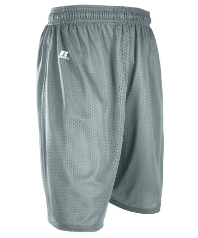 "Russell Athletic Men's 9"" Polyester Tricot Mesh Shorts - Gridiron Silver"