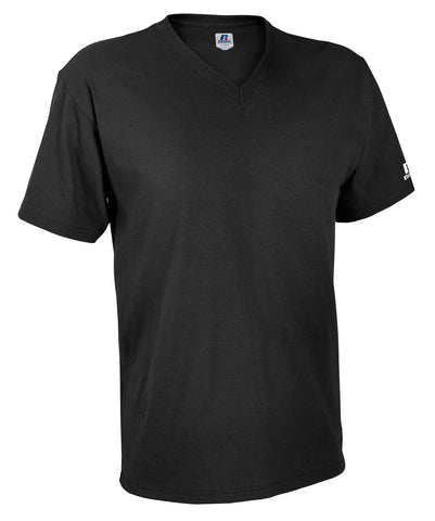 The Russell Athletic Men's V-Neck Tee features the comfort and style your wardrobe needs. The two-needle hemmed sleeve openings and bottom reinforces the construction of this tee to add durability so it will be ready to be worn for years to come.