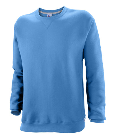 Russell Athletic is the original sweatshirt designer. The Russell Athletic Men's Dri-Power Fleece Crew exemplifies our sweatshirt expertise. This fleece crew features a rib crewneck collar with V-patch and Dri-Power moisture wicking fabric. The Dri-Power Fleece Crew will keep you cozy and warm when it's cold and dry while you sweat. Available in sizes S-4XL.