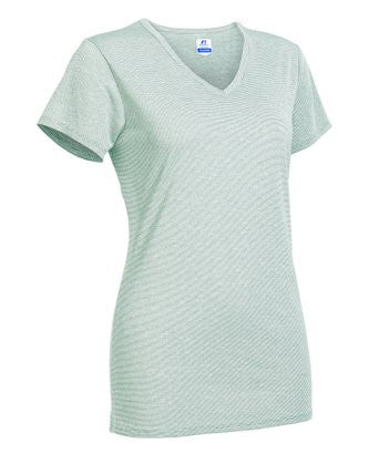 The Russell Athletic Women's Short Sleeve Performance Tee features a stylish V-neck design with three-needle stitching.