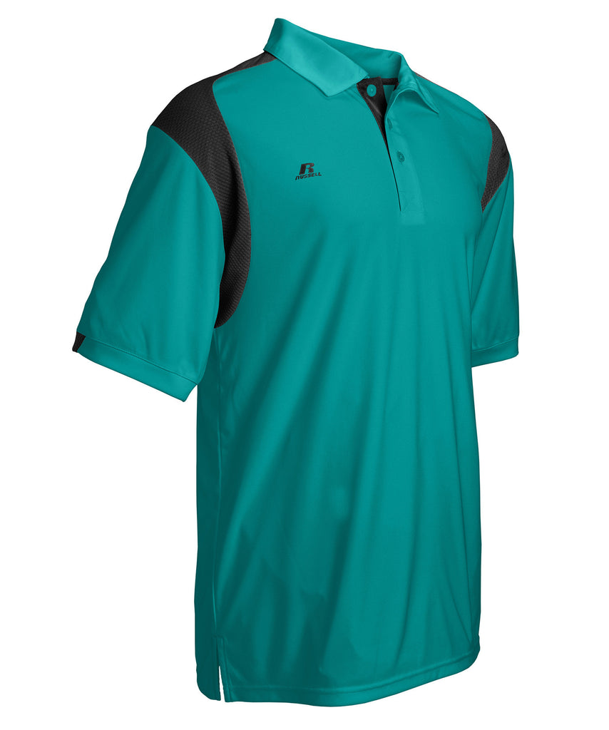 Russell Athletic Men's Gameday Polo - Aqua/Black Selected