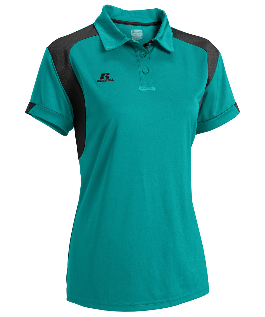 Russell Athletic Women's Gameday Polo - Aqua/Black Selected
