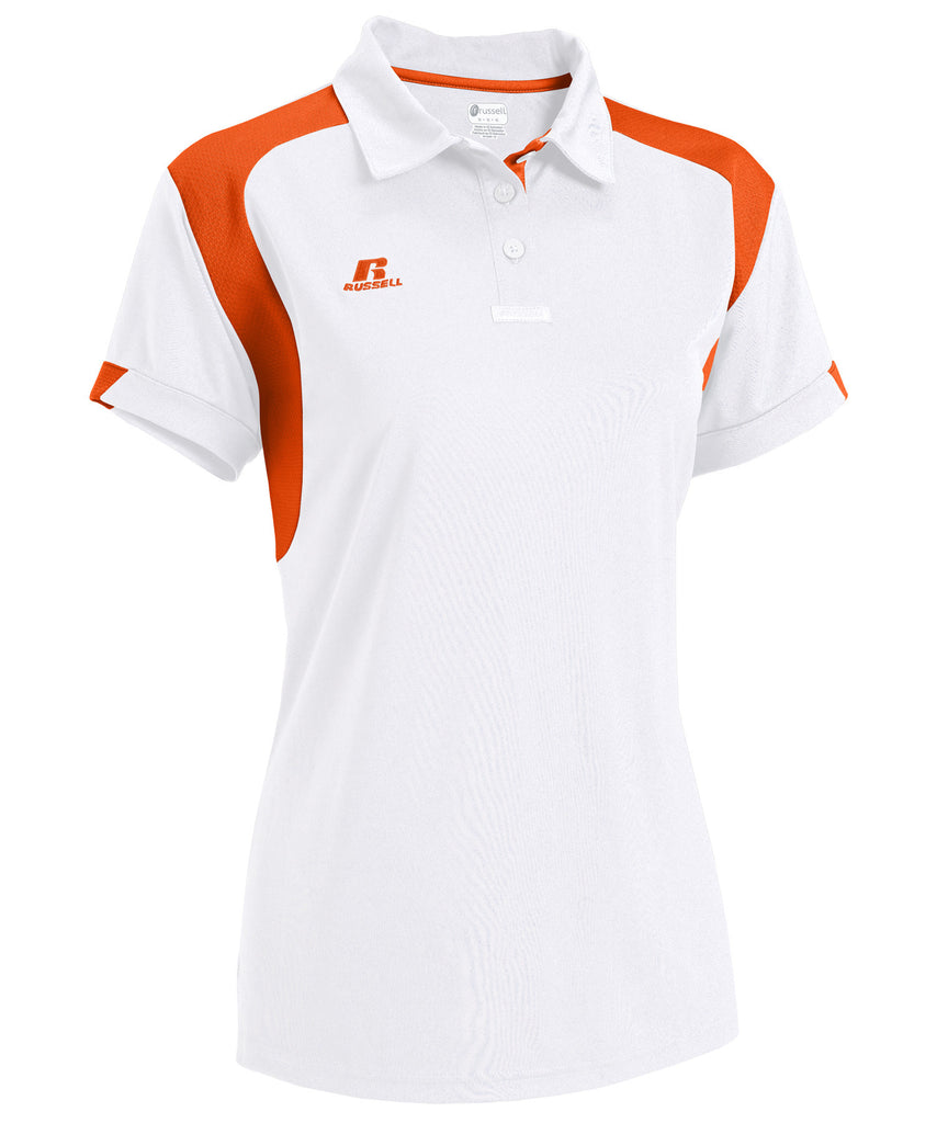 Russell Athletic Women's Gameday Polo - White/Burnt Orange Selected