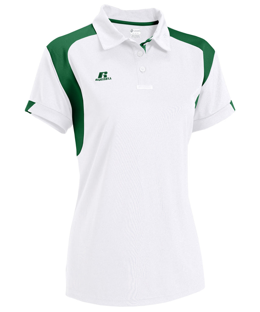 Russell Athletic Women's Gameday Polo - White/Dark Green Selected