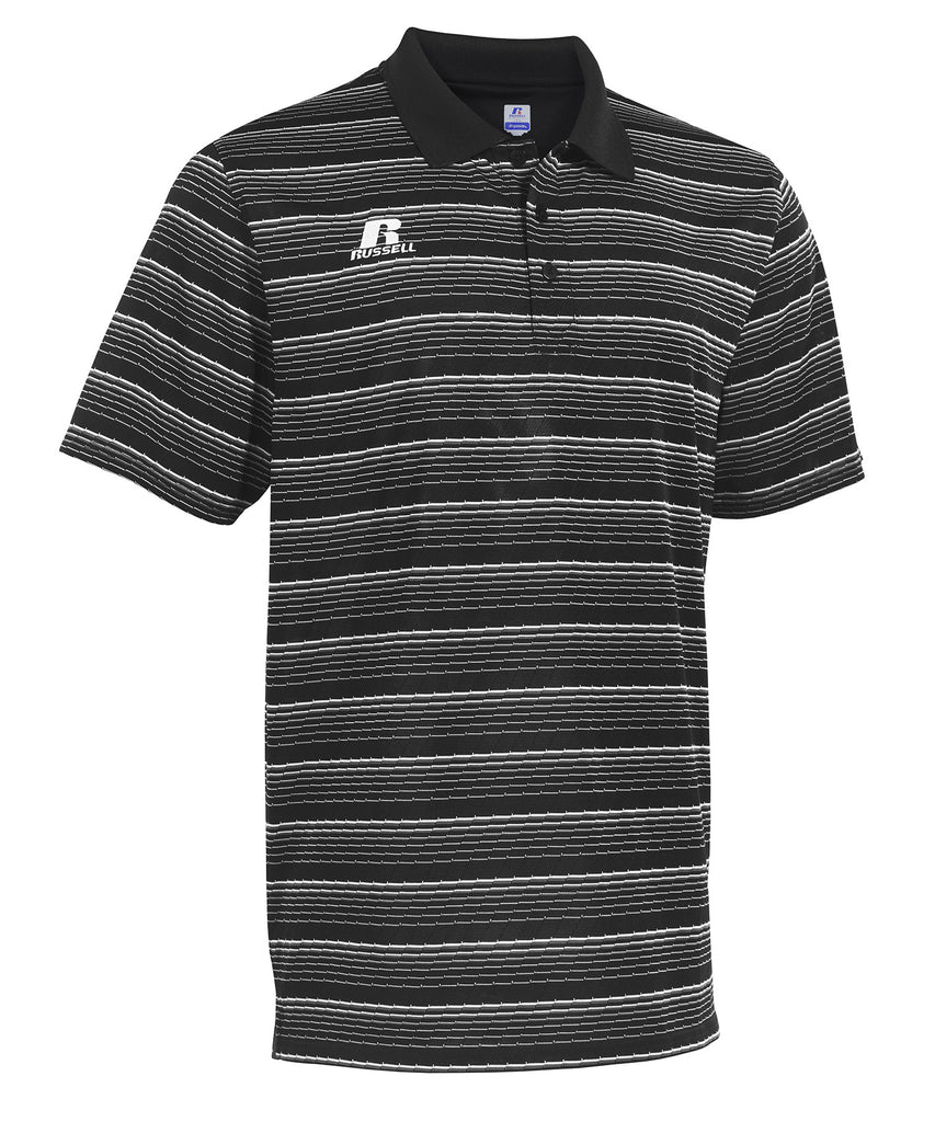 Russell Athletic Men's Striped Golf Polo - Black Selected
