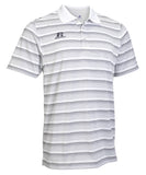 Russell Athletic Men's Striped Golf Polo - White