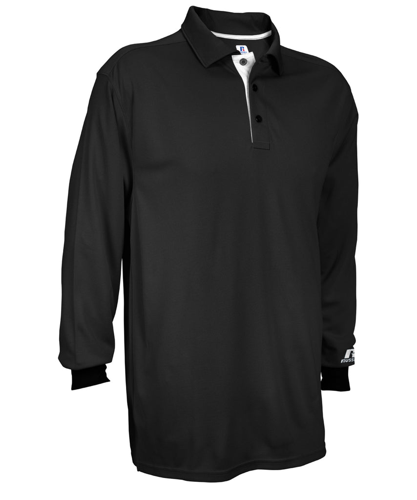 Russell Athletic Men's Essential Long Sleeve Solid Polo - Black/White