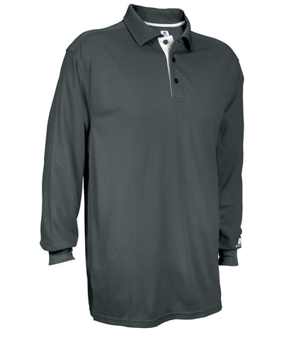 Russell Athletic Men's Essential Long Sleeve Solid Polo - Stealth/White