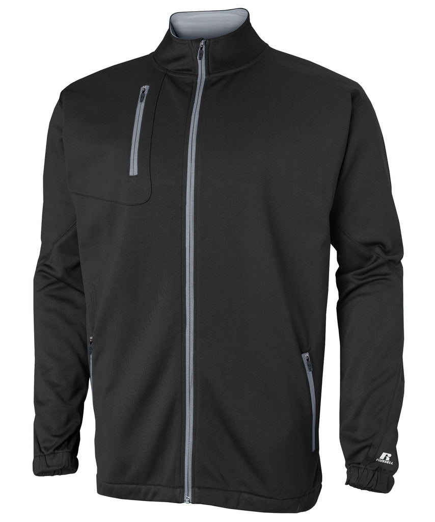 Russell Athletic Men's Tech Performance Fleece Full Zip Cadet - Black/Steel Selected