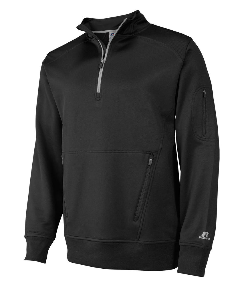 Russell Athletic Men's 1/4 Zip Performance Fleece Cadet - Black Selected