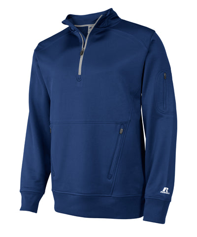 The Russell Athletic Men's 1/4 Zip Performance Fleece Cadet is the one fleece you need in your wardrobe. It has Dri-Power moisture-wicking fabric and a cadet collar with mesh lining. This pullover has a zipper pocket on left sleeve and front zipper muff pockets. There's reflective detail on center back neck.