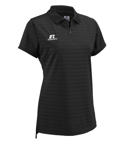 The Russell Athletic Women's Golf Polo features a subtle, tonal diamond pattern bringing style to course.