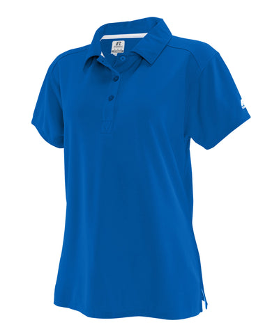 The Russell Athletic Essential Women's Polo features a 3-button placket with set-in sleeves and collar.