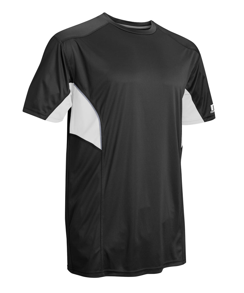 Russell Athletic Men's Dri-Power Tee With Reflective Accents features moisture-wicking fabric and side torso mesh inserts.  Selected