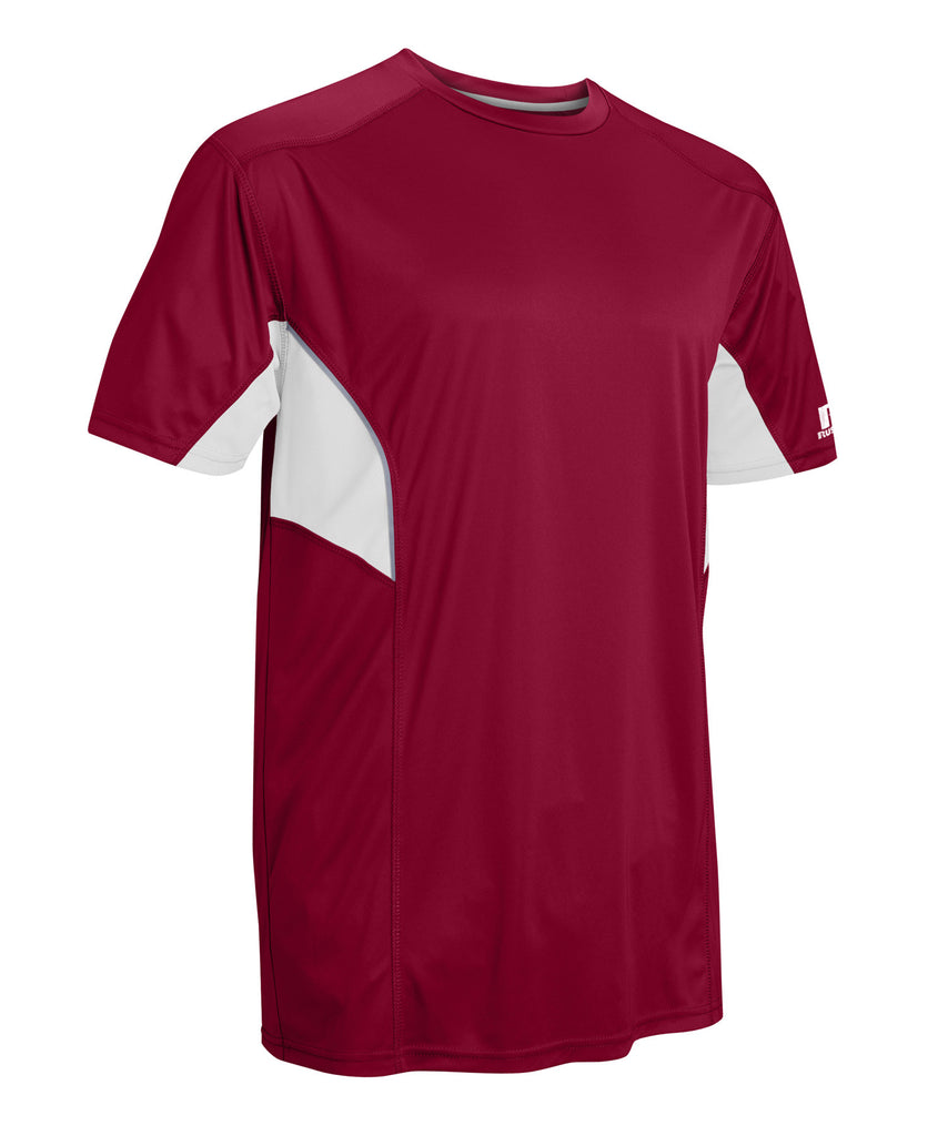 Russell Athletic Men's Dri-Power Tee With Reflective Accents - Cardinal/White Selected
