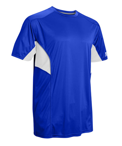 Russell Athletic Men's Dri-Power Tee With Reflective Accents features moisture-wicking fabric and side torso mesh inserts.