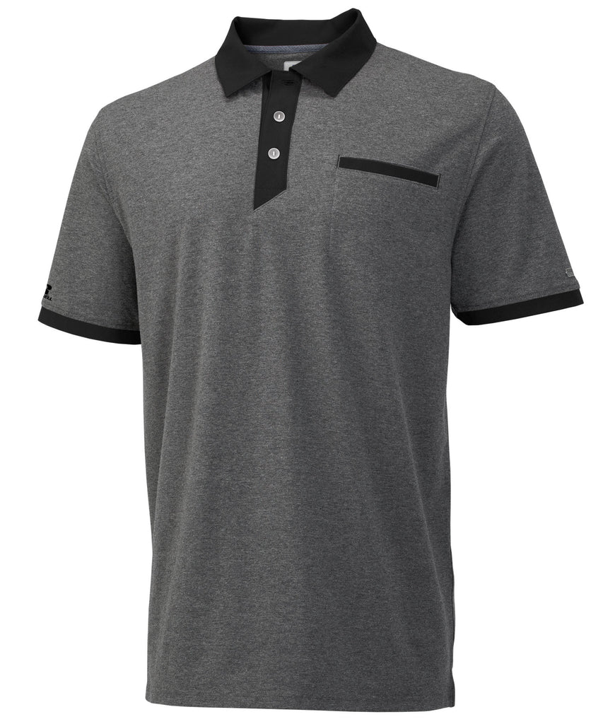 Russell Athletic Men's Elite Polo - Black Heather/Black Selected