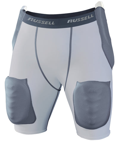 The Russell Athletic Men's Football 5-Piece Integrated Girdle - Hip, Tail & Thigh Padding is ideal for all sports requiring protection for the hip, tail and thigh regions of the body. These protective shorts feature moisture-wicking fabric as well as provide optimum compression. The girdle can be washed with padding sewn-in. There is a 1.5 inch plush waistband with jock tag included. Available in sizes S-4XL.
