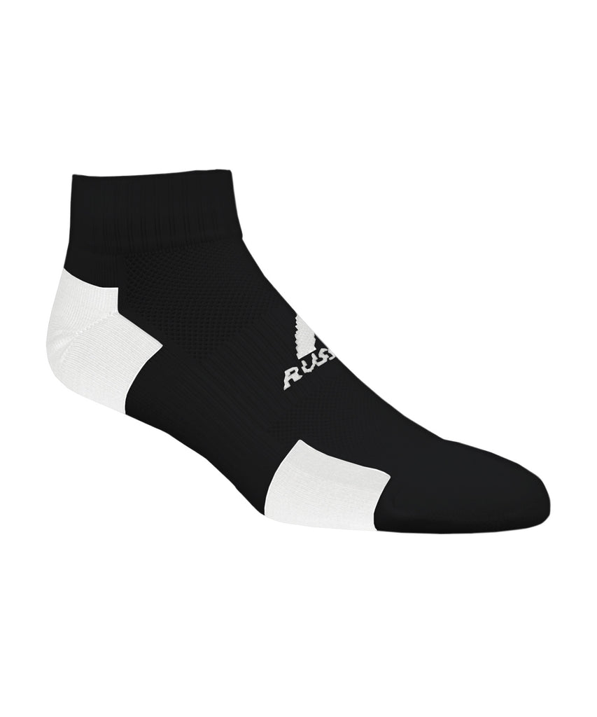 Russell Athletic Adult Quarter Ankle Socks - Black/White Selected