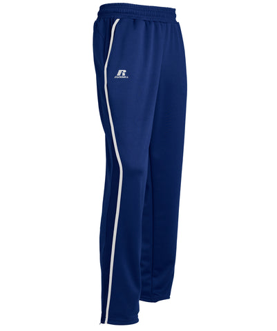 The Russell Athletic Men's Gameday Sideline Pants provide comfort and style on the field, in the gym or in the stands. These stylish warm-up pants are constructed with an elastic waistband and draw cord, side entry pockets, and zippers at the leg openings for adjustable length to create the perfect fit. These pants feature contrasting side insert overlays.