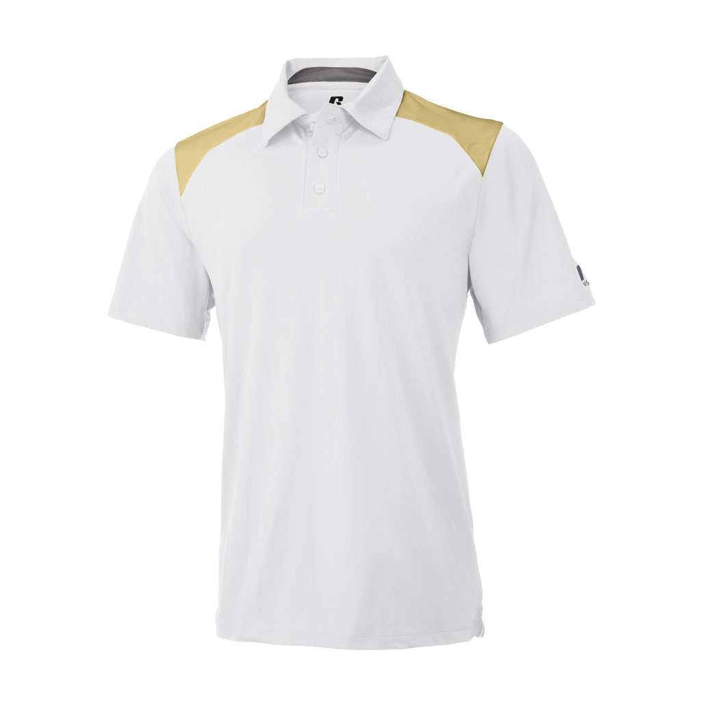 Russell Athletic Men's Gameday Polo - White/GT Gold Selected