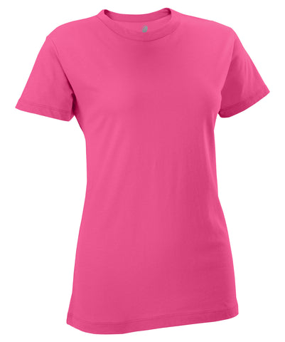 The Russell Athletic Women's Campus Short Sleeve Tee is soft and comfortable. It features a fitted, feminine cut with a longer torso.