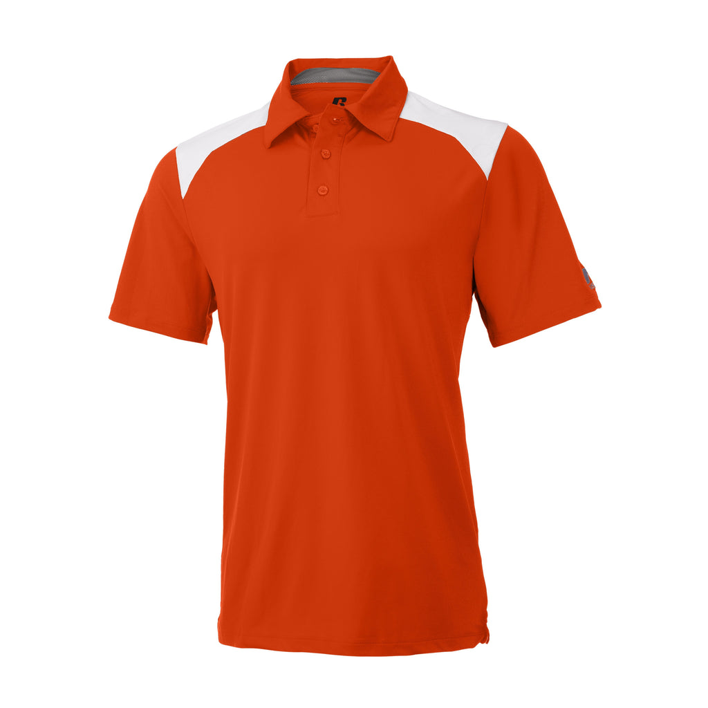 Russell Athletic Men's Gameday Polo - Burnt Orange/White Selected