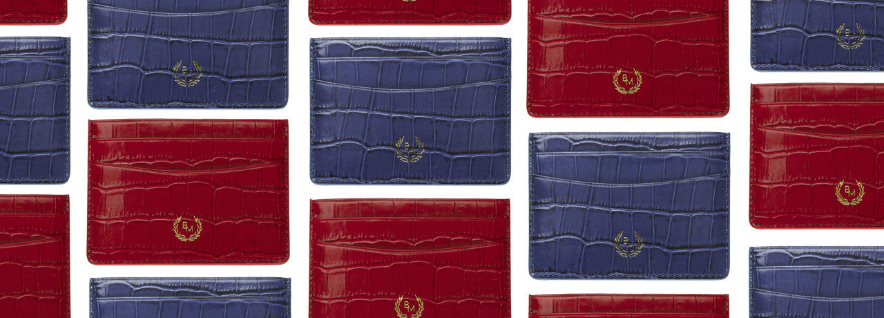 Credit Card Holder - Mazarine Blue Croco & Emperor Red Croco