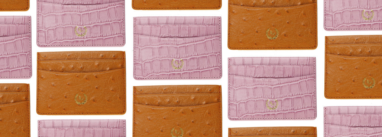 Credit Card Holder - Aphrodite Pink Croco & Monarch Orange Ostrich