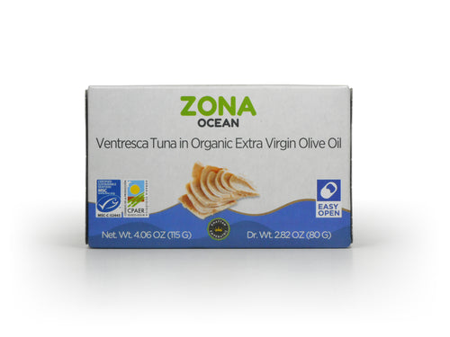 ZONA Ocean Ventresca Tuna Belly in Organic Extra Virgin Olive Oil MSC Certified