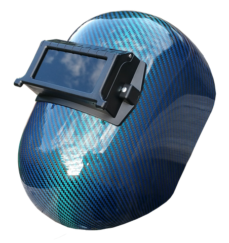 Blue Carbon Fiber Welding Helmet - Pipeline Style - Matte or High Gloss