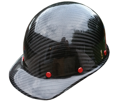 Red Carbon Fiber Hard Hat - Cap Style