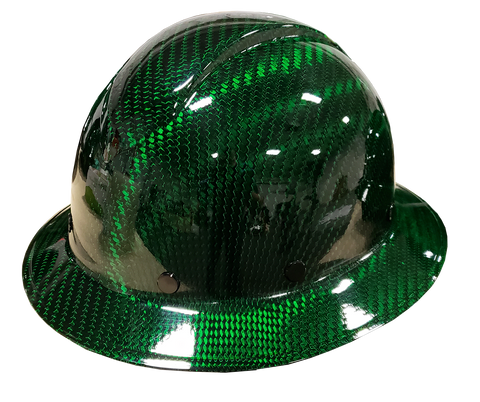 Green Carbon Fiber Hard Hat - Full Brim