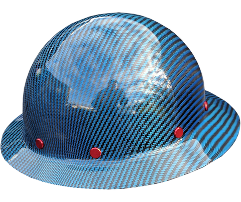 Smooth Crown Blue Carbon Fiber Hard Hat - Full Brim