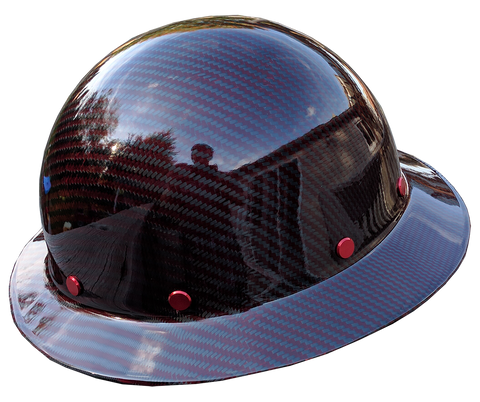 Smooth Crown Red Carbon Fiber Hard Hat - Full Brim