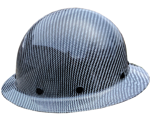 Smooth Crown White Carbon Fiber Hard Hat - Full Brim