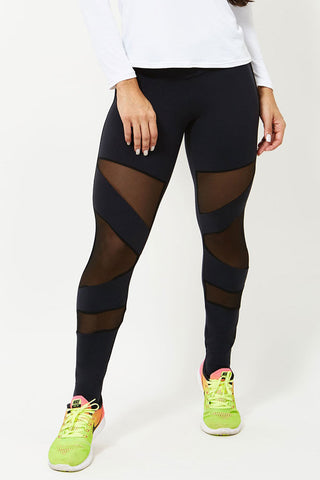 CANOAN Flash Black Meshed Workout Leggings