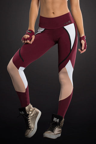 OXYFIT Dark Red Cutouts Detailed Tights