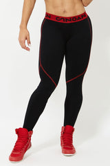 CANOAN Black & Red Athletic Bodybuilding Tights