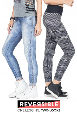 LIVE Reversible Washed City Denim Leggings