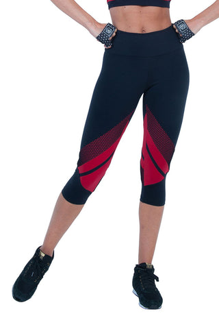 BIA BRAZIL Black Just in Red Meshed Workout Capri